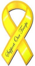 A tiny yellow support the troops ribbon.